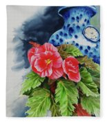 Pink Begonias Fleece Blanket