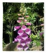 Pink Bell Flowers. Foxglove 03 Fleece Blanket