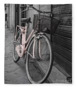 Pink Bicycle In Rome Fleece Blanket