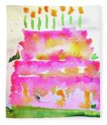 Pink Birthday Cake Fleece Blanket