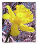Pink Blossom Spring Trees Yellow Daffodil Flower Baslee Troutman Fleece Blanket