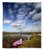 Pink Boat In Scenic Saskatchewan Fleece Blanket