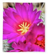 Pink Cacti Flowers Fleece Blanket