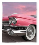 Pink Cadillac Sunset Fleece Blanket