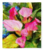 Pink Calla Lilly Fleece Blanket