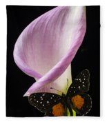 Pink Calla Lily With Butterfly Fleece Blanket