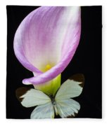 Pink Calla Lily With White Butterfly Fleece Blanket