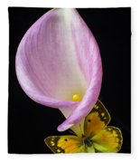 Pink Calla Lily With Yellow Butterfly Fleece Blanket