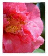 Pink Camelia Closeup Fleece Blanket