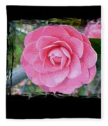 Pink Camellias With Fence And Framing Fleece Blanket