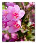 Pink Cardinal Bush Flowers Fleece Blanket