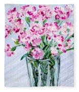 Pink Carnations In A Vase. For Sale Fleece Blanket