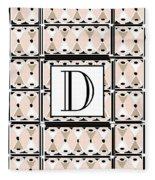Pink Champagne Deco Monogram  D Fleece Blanket