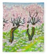 Pink Cherry Garden In Blossom Fleece Blanket