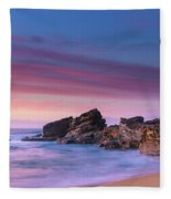 Pink Clouds And Rocky Headland Seascape Fleece Blanket
