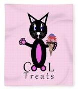 Pink Cool Treats - Cat Typography Fleece Blanket