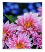 Pink Dahlias On Lobelia Fleece Blanket