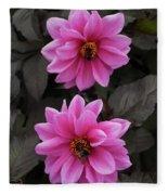 Pink Dahlias With Bees Fleece Blanket