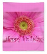 Pink Daisy Birthday Card Fleece Blanket