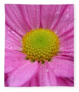 Pink Daisy With Raindrops Fleece Blanket