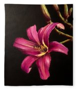 Pink Daylily Fleece Blanket