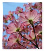 Pink Dogwood Flowers Landscape 11 Blue Sky Botanical Artwork Baslee Troutman Fleece Blanket