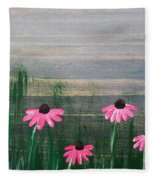 Pink Echinacea Fleece Blanket
