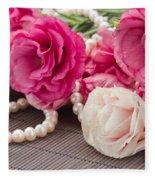 Pink Eustoma Flowers  Fleece Blanket