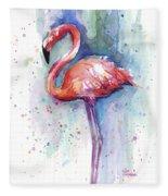 Pink Flamingo Watercolor Fleece Blanket