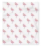 Pink Flamingo Watercolor Pattern Fleece Blanket