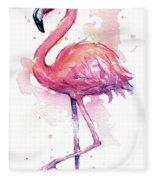 Pink Flamingo Watercolor Tropical Bird Fleece Blanket