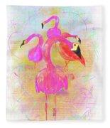Pink Flamingos In The Park Fleece Blanket
