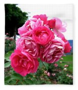 Pink Floribunda Roses Fleece Blanket