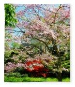 Pink Flowering Dogwood Fleece Blanket