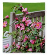 Pink Flowers By The Bench Fleece Blanket