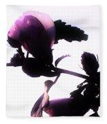 Pink Flowers In Empty Space Fleece Blanket