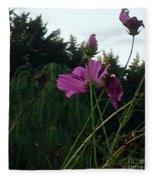 Pink Flowers In Front Of Trees Fleece Blanket