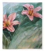 Pink Flowers Fleece Blanket