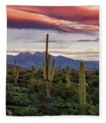 Pink Four Peaks Sunset  Fleece Blanket