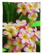 Pink Frangipani Fleece Blanket