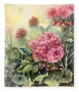 Pink Geranium's  Fleece Blanket