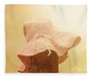 Pink Girls Hat On Farmyard Fence Post Fleece Blanket
