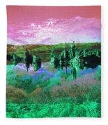 Pink Green Waterscape - Fantasy Artwork Fleece Blanket
