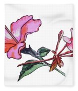 Pink Hibiscus And Geranium  Fleece Blanket