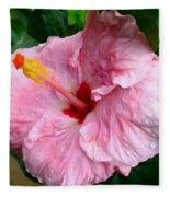 Pink Hibiscus Flower 1 Fleece Blanket