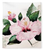 Pink Hibiscus Fleece Blanket