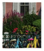 Pink House Bikes Cape May Nj Fleece Blanket
