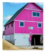 Pink House On The Beach 1 Fleece Blanket