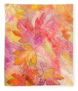 Pink Leaves Fleece Blanket
