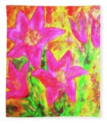 Pink Lilies Fleece Blanket